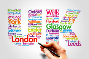 United Kingdom (UK), cities names word cloud travel concept